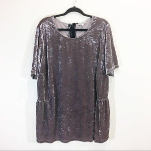 Anthropologie 2X Velvet Purple Bow Tie Blouse